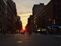 νέο ηλιοβασίλεμα Υόρκη πό&lam Στοκ Εικόνα