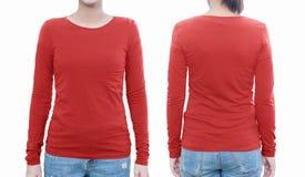 Νέο θηλυκό με το κενές κόκκινες πουκάμισο, το μέτωπο και την πλάτη με το ψαλίδισμα Στοκ Εικόνες