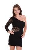 Νέο θηλυκό μοντέλο που φορά ένα ελάχιστα μαύρο φόρεμα στοκ εικόνα με δικαίωμα ελεύθερης χρήσης