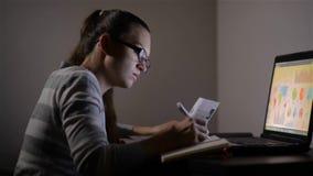 Νέο θηλυκό που εργάζεται στο σπίτι Εργάζεται αργά στη νύχτα, όμορφη μελέτη κοριτσιών τη νύχτα απόθεμα βίντεο