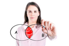 Νέο διάγραμμα κύκλων επιχειρηματιών κομμένο σχέδιο στο whiteboard. Στοκ εικόνες με δικαίωμα ελεύθερης χρήσης