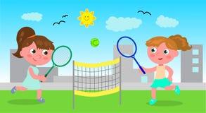 Νέο διάνυσμα αντισφαίρισης γυναικών παίζοντας Στοκ Εικόνα