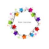 Νέο διάνυσμα ευχετήριων καρτών έτους λαμπών φωτός αστεριών Χριστουγέννων ελεύθερη απεικόνιση δικαιώματος