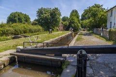 Νέο κανάλι Llangollen κλειδαριών marton τοπ στοκ φωτογραφίες