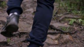 Νέο κατάλληλο άτομο που τρέχει στα ξύλα Νέος αθλητής που τρέχει στα ξύλα φιλμ μικρού μήκους