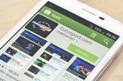 Νέο κινητό τηλέφωνο App στο κατάστημα Στοκ φωτογραφία με δικαίωμα ελεύθερης χρήσης