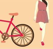 Νέο κορίτσι δίπλα σε ένα ποδήλατο Απεικόνιση αποθεμάτων