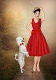 Νέο κορίτσι και poodle στοκ εικόνα με δικαίωμα ελεύθερης χρήσης