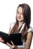 Νέο κορίτσι με την ταμπλέτα, eBook Στοκ Φωτογραφίες