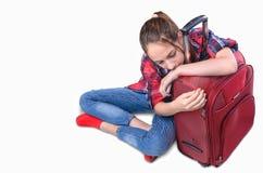 Νέο κορίτσι με τη βαλίτσα Στοκ Εικόνες