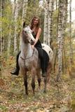 Νέο κορίτσι με το άλογο appaloosa το φθινόπωρο Στοκ Εικόνες