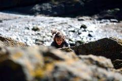 Νέο κορίτσι που αναρριχείται στους βράχους στην ακτή Στοκ εικόνα με δικαίωμα ελεύθερης χρήσης