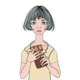 Νέο κορίτσι που κρατά έναν φραγμό σοκολάτας Γλυκό δόντι Διανυσματική απεικόνιση πορτρέτου, που απομονώνεται στο άσπρο υπόβαθρο απεικόνιση αποθεμάτων
