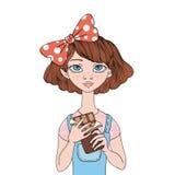 Νέο κορίτσι που κρατά έναν φραγμό σοκολάτας Γλυκό δόντι Διανυσματική απεικόνιση πορτρέτου, που απομονώνεται στο άσπρο υπόβαθρο διανυσματική απεικόνιση