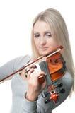 Νέο κορίτσι που παίζει το βιολί Στοκ Εικόνες
