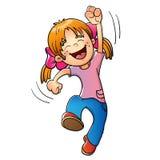 Νέο κορίτσι που πηδά στο λευκό Ελεύθερη απεικόνιση δικαιώματος
