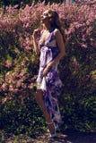 Νέο κορίτσι ρόδινα μικρά λουλούδια Στοκ εικόνα με δικαίωμα ελεύθερης χρήσης