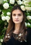 Νέο κορίτσι σε ένα υπόβαθρο του άσπρου viburnum άνθισης Στοκ φωτογραφίες με δικαίωμα ελεύθερης χρήσης