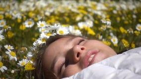 Νέο κορίτσι στα λουλούδια της Daisy απόθεμα βίντεο