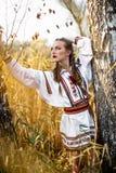 Νέο κορίτσι στο θερινό τομέα στα εθνικά λευκορωσικά ενδύματα, fas στοκ φωτογραφίες με δικαίωμα ελεύθερης χρήσης