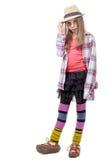 Νέο κορίτσι στο ύφος hipster απομονωμένο λευκό κραγιόν ανασκόπησης κορίτσι Στοκ Εικόνες