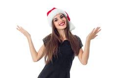 Νέο κορίτσι Cutie στο καπέλο santa στοκ εικόνες