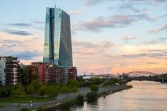 Νέο κτήριο ΕΚΤ Ευρωπαϊκής Κεντρικής Τράπεζας στοκ εικόνα