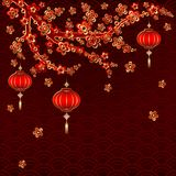 Νέο κόκκινο φανάρι έτους στο ζωηρόχρωμο υπόβαθρο ελεύθερη απεικόνιση δικαιώματος