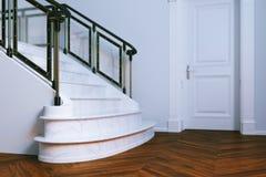Νέο κλασικό εσωτερικό με την κλειστή πόρτα και τη μαρμάρινη σκάλα τρισδιάστατο ρ Στοκ Εικόνα