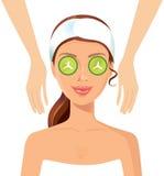 Νέο μασάζ wellness γυναικών χαλαρώνοντας στο σώμα προσώπου σαλονιών SPA tre διανυσματική απεικόνιση