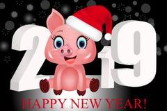 Νέο μαύρο υπόβαθρο έτους με τα άσπρα τρισδιάστατα ψηφία 2019 και χαριτωμένος χοίρος στο καπέλο Santa, zodiac σύμβολο στο κινεζικό ελεύθερη απεικόνιση δικαιώματος