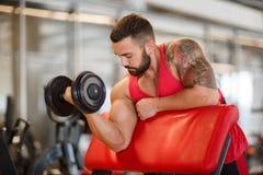 Νέο μυϊκό άτομο που κάνει τον αθλητισμό στη γυμναστική απομονωμένο έννοια αθλητικό λευκό Στοκ Φωτογραφία