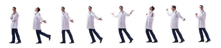 Νέο μόνιμο περπάτημα παθολόγων γιατρών που απομονώνεται στο άσπρο backgr στοκ εικόνες