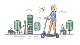 Νέο ξανθό κορίτσι που οδηγά το ηλεκτρικό scooterboard στο υπόβαθρο eco-πόλεων Επίπεδη διανυσματική απεικόνιση γραμμών οριζόντιος Ελεύθερη απεικόνιση δικαιώματος