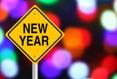 Νέο οδικό σημάδι έτους Στοκ φωτογραφία με δικαίωμα ελεύθερης χρήσης
