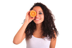 Νέο πορτοκάλι εκμετάλλευσης γυναικών. Απομονωμένος πέρα από το λευκό. Απομονωμένος άνω του W Στοκ φωτογραφία με δικαίωμα ελεύθερης χρήσης