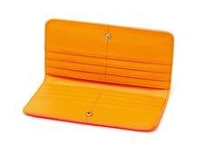 Νέο πορτοκαλί πορτοφόλι δέρματος Στοκ Φωτογραφίες