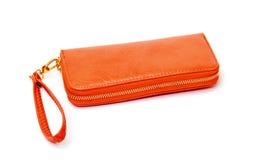 Νέο πορτοκαλί πορτοφόλι δέρματος Στοκ φωτογραφίες με δικαίωμα ελεύθερης χρήσης