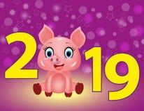 Νέο πορφυρό υπόβαθρο έτους με τα κίτρινα ψηφία 2019 και χαριτωμένος χοίρος, zodiac σύμβολο στο κινεζικό ημερολόγιο του έτους του  ελεύθερη απεικόνιση δικαιώματος