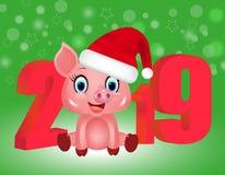 Νέο πράσινο υπόβαθρο έτους με τα κόκκινα τρισδιάστατα ψηφία 2019 και χαριτωμένος χοίρος στο καπέλο Santa, zodiac σύμβολο στο κινε ελεύθερη απεικόνιση δικαιώματος