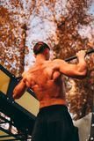 Νέο προκλητικό άτομο αθλητών με το γυμνό κορμό που κάνει το τράβηγμα-UPS στο πάρκο στοκ εικόνα με δικαίωμα ελεύθερης χρήσης