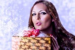 Νέο προκλητικό santa γυναικών με το δώρο Στοκ εικόνες με δικαίωμα ελεύθερης χρήσης