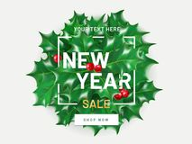 Νέο πρότυπο ιπτάμενων πώλησης έτους με το ρεαλιστικούς ελαιόπρινο και το μούρο Χριστουγέννων η ανασκόπηση απομόνωσε το λευκό Αφίσ Στοκ φωτογραφία με δικαίωμα ελεύθερης χρήσης