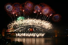 Νέο πυροτέχνημα έτους του Σύδνεϋ στοκ εικόνες