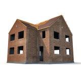 Νέο σπίτι που στηρίζεται με τα τούβλα στο λευκό τρισδιάστατη απεικόνιση Στοκ Φωτογραφία