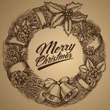 Νέο στεφάνι έτους Κάρτα Χαρούμενα Χριστούγεννας σκίτσο Διανυσματική απεικόνιση EPS10 Απεικόνιση αποθεμάτων