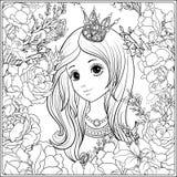 Νέο συμπαθητικό κορίτσι στην κορώνα πριγκηπισσών στον κήπο των τριαντάφυλλων Outlin απεικόνιση αποθεμάτων