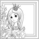 Νέο συμπαθητικό κορίτσι στην κορώνα πριγκηπισσών στον κήπο των τριαντάφυλλων Outlin ελεύθερη απεικόνιση δικαιώματος
