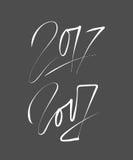 Νέο σχέδιο κειμένων έτους 2017 Σχέδιο εγγραφής χεριών διάνυσμα Στοκ εικόνα με δικαίωμα ελεύθερης χρήσης