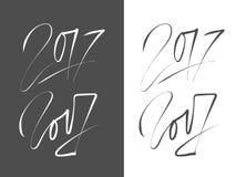 Νέο σχέδιο κειμένων έτους 2017 Σχέδιο εγγραφής χεριών διάνυσμα Στοκ φωτογραφίες με δικαίωμα ελεύθερης χρήσης